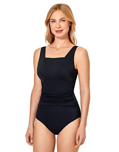 DELIMIRA Women's Tummy Control One Piece Swimsuits Underwire Modest Swimwear Black Red Black 44C