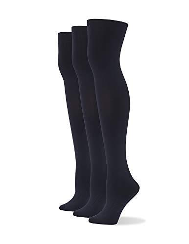 No Nonsense Women's Yoga Waistband Blackout Tights, Black-3 Pair Pack, Large-X-Large (AT1001)