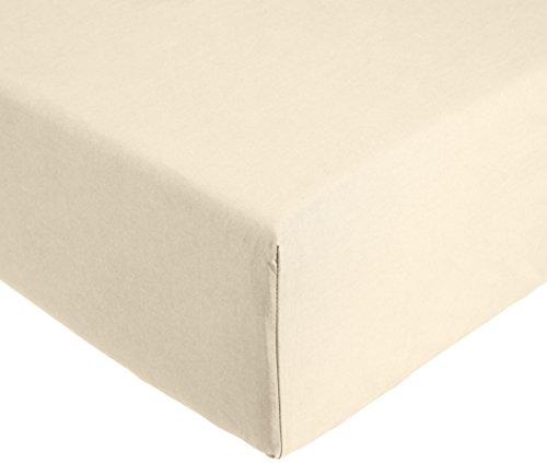 AmazonBasics Everyday - Sábana bajera ajustable (100% algodón) Tapioca - 150 x 200 x 30 cm