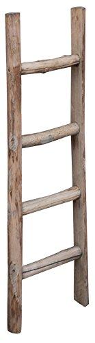 Biscottini Scala legno porta asciugamani e vestiti 100x40x6,5 cm | Scala legno vintage per soggiorni, bagni e camere | Scala porta asciugamani bagno da terra