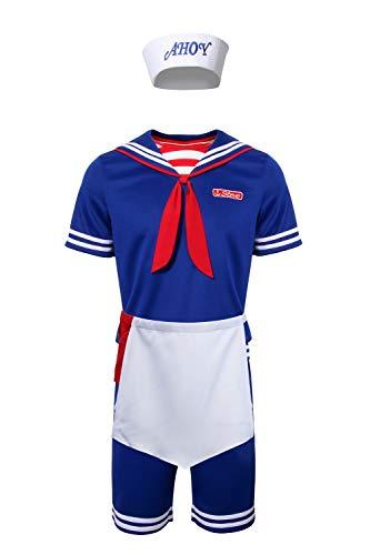 NUWIND - Uniforme Hombres y Niños Traje de Marinero Steve Scoop Ahoy, Disfraz de Serie Televison Stranger para Halloween Conjunto Completo (XXL, para Hombre)