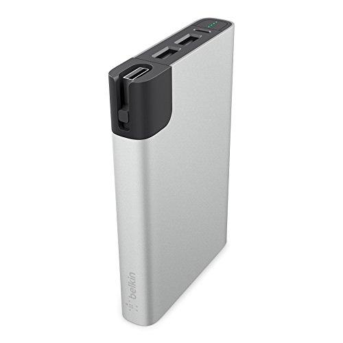 Belkin Premium MixIt Metallic RockStar Power Bank (inkl. Lightning- und Micro-USB-Kabel, 2 USB Anschlüsse, 10000mAh, Battery Pack für Tablets und Smartphones) silber