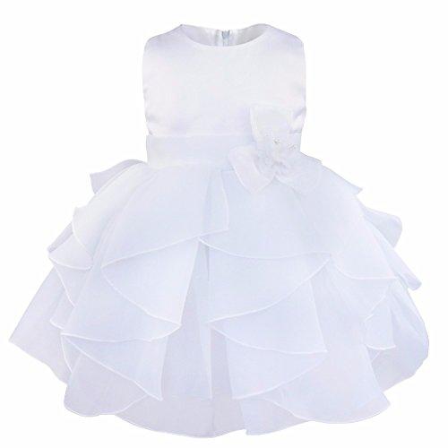 IEFIEL Vestido de Bautizo Princesa para Bebé Niña Recién Nacido (3-24 Meses) Vestido de Fiesta Flor Organza Blanco 9-12 Meses