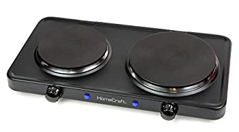 HomeCraft HCDB15BK Portable Countertop Double Burner Hot Plate Electric Cooktop 1500-Watts Adjustable Temperature Control Black