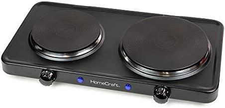 HomeCraft HCDB15BK Portable Countertop Double Burner Hot Plate Electric Cooktop 1500-Watts, Adjustable Temperature Control, Black