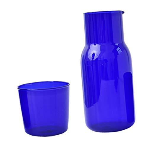 BESTonZON Jarra de Cabecera Azul de 500Ml con Jarra de Agua Nocturna Y Vaso de Vaso Práctico Bebida de Medianoche Taza de Agua de Boca Ancha Agua Fría Caliente Jarra de Bebida