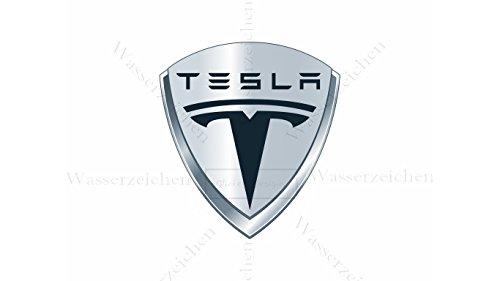 10cm! 2Stück! Aufkleber-Folie Wetterfest Made IN Germany kompatibel für: Tesla-2003 AD429-Logo UV&Waschanlagenfest Auto-Sticker Decal Profi Qualität bunt Digital-Schnitt!