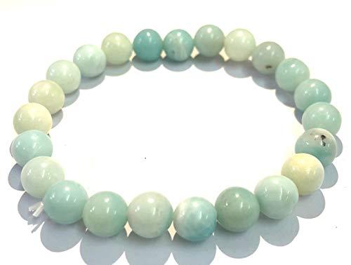 Exclusiva pulsera de cuentas redondas de Amazonita accesorio de moda para hombres y mujeres, regalo de curación de piedras preciosas de amor, paz, meditación espiritual hecha