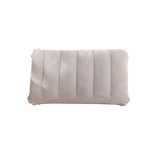 WWWL Almohada de dormir lateral Almohada portátil Travel Air Cushion Inflable Doble Cara Flocado Cojín Campamento Playa Coche Avión Cabeza Resto Cama Dormir Gris