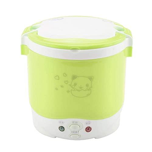 Hervidor de arroz eléctrico, Vaporizador de alimentos portátil para camión eléctrico, Mini hervidor de arroz de viaje, Calentador de comida portátil de 12V 100W 1L Calentador de alimentos(green)