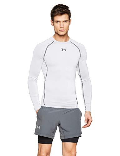 Under Armour UA HeatGear Long Sleeve, Maglia a Maniche Lunghe Uomo, Bianco (White/Graphite 100), M