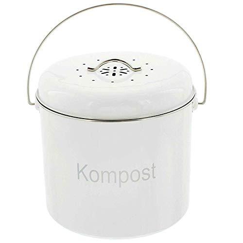 SIDCO Bio Abfalleimer Kompost Eimer Kücheneimer Mülleimer Metall m. Geruchsfilter 6 L