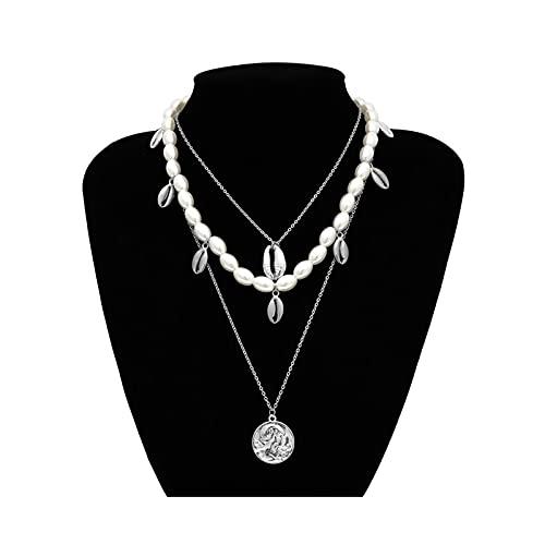RXDZ Punk múltiples Capas Perlas gargantillas Collar Collar declaración Moneda Cristal Colgante Collar Mujer joyería (Color : Sliver Color)