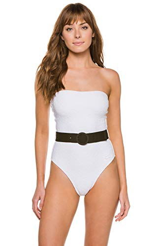 Solid & Striped Women's Madeline Textured Bandeau One Piece Swimsuit White Embossed Floral XS