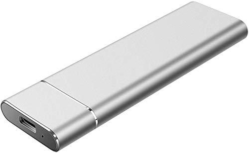 Disco rigido esterno portatile da 2 TB, disco rigido USB 3.1/Type C Supporto per disco rigido esterno Mac, PC, MacBook, Chromebook (2TB, Silver)
