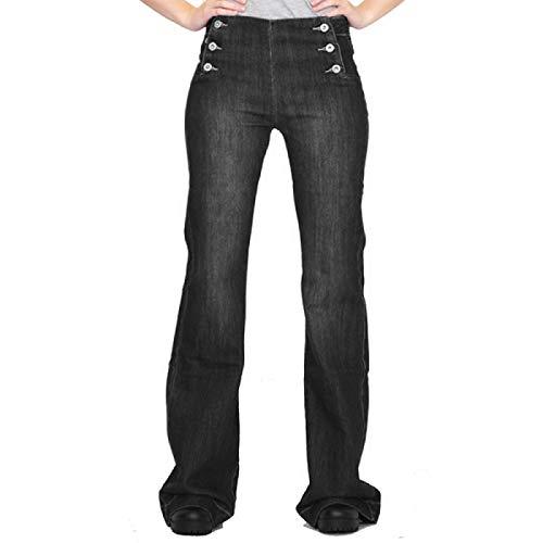 Qinvern Pantalones Vaqueros de Mujer de Moda Botones Expuestos de Todo fósforo Pantalones de Mezclilla de Pierna Recta Lavados a la Piedra Pantalones de Talla Grande L