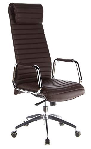 hjh OFFICE 600904 Silla ejecutiva ASPERA 20 Cuero napa marron Oscuro Silla de Oficina ergonomica Respaldo Alto con Brazos