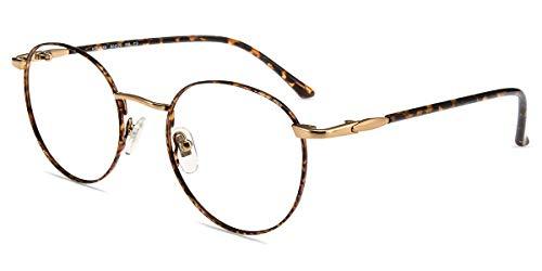 Firmoo Lesebrille 1.0x Damen mit Blaulichtfilter, Anti Blaulicht Computerbrille mit Sehstärke, Runde Lesehilfe Lesebrille Herren für PC/Handy/Fernseher Anti Augenmüdigkeit, Leopard