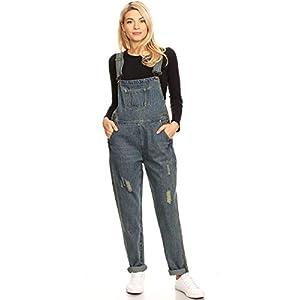 Women's Vintage Distressed Denim Skinny Jean Adjustable Strap Overalls