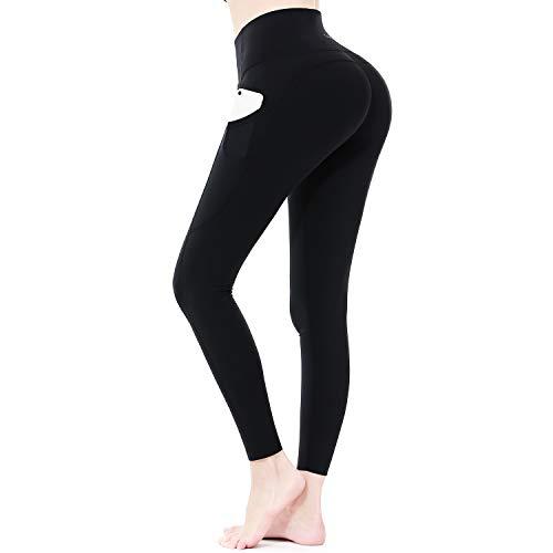 Sportneer Women Yoga Pants Tummy Control Leggings Workout Leggings for Butt Lifting High Waist Leggings for Women with Pockets Black