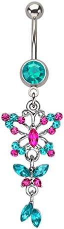 Blue Zircon & Hot Pink Butterfly Long Dangle Belly Button Navel Ring Piercing bar Body Jewelry 14g