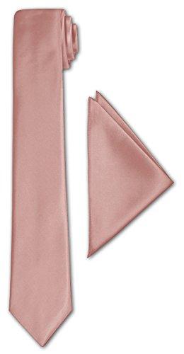 CRIXUS schmale Krawatte Lachs Satin-Krawatte mit oder ohne Einstecktuch (Tuch Maß 26 x 26 cm) einfarbig (mit Einstecktuch)