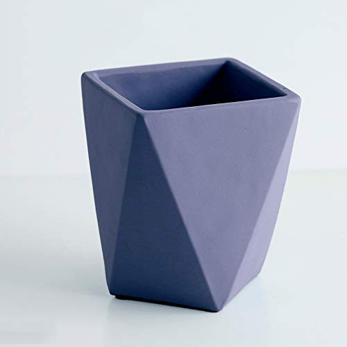 Qeepenl European-style Plant Basin Modern Minimalist Creative Living Room Floor Geometry Cement Desktop Potted Pot Art Flower Pot (Color : Blue, Size : M)