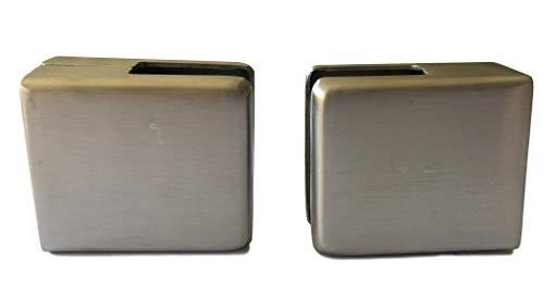2x Edelstahl Glashalter für 6mm oder 8mm Glas inkl. Gummi-Einlage/Klemmhalter für z.B. Geländer, Glasscheiben, Duschen/Duschverglasung – Matt gebürstet Eckig (47x41x23mm) (2Stück 8mm Variante)