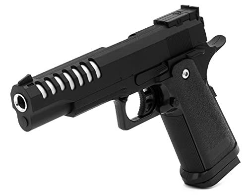 B.W. Softair Gun Airsoft Pistole + Munition | V17 - Schwarz Profi Vollmetall | 22cm. Inkl. Magazin & unter 0,5 Joule (ab 14 Jahre)
