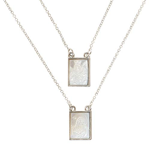 Roman Infinity Scapular Layered Silver Tone 26 inch Zinc Metal Multi Tiered Necklace