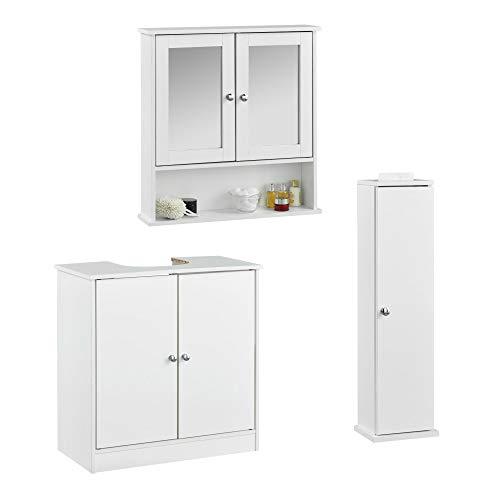 CARME Gatsby - Juego de 3 piezas de armario de pared con espejo para baño