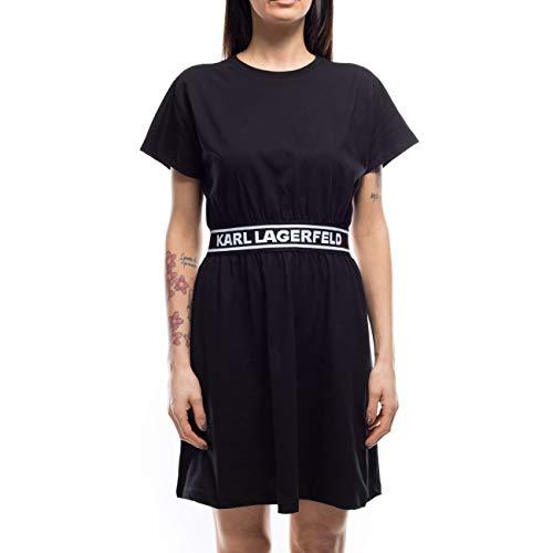 KARL LAGERFELD Damen Logo Tape T-shirt Casual Dress, Schwarz, M EU