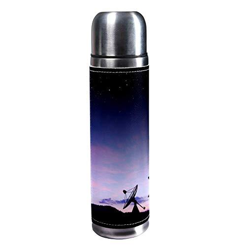 TIZORAX Satelliten-Schüssel Sky Sun Stars 500 ml Reisebecher Kaffeetassen Wasserflasche Vakuum Leder Isolierbecher 304 Edelstahl