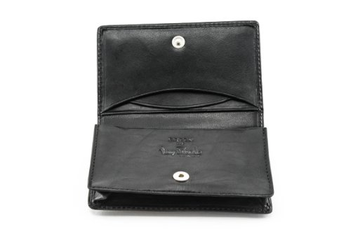 CUSTOM PERSONALIZED INITIALS ENGRAVING Tony Perotti Unisex Italian Cow Leather Front Pocket Business and Credit Card Case Wallet in Black