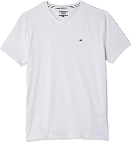 Tommy Hilfiger Regular C Camiseta con Cuello Redondo, Blanco (Classic White), L para Hombre