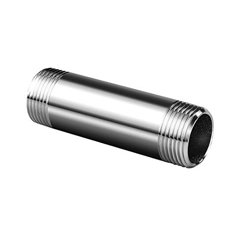 """Quickun 304 Stainless Steel Nipple Pipe Fitting, 1/2"""" NPT x 1/2"""" NPT Male Malleable Nipple Cast Pipe 4"""" Length"""