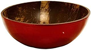 Natural Lacquered Coconut Bowl Unique Design For Home Kitchen Hotel Party Gifts (Red)