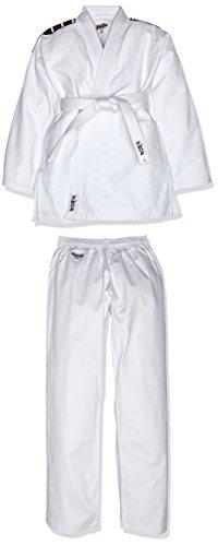 Kwon Divisa da Judo, con Righe sulle Spalle, Bianco (Weiß), 180 cm