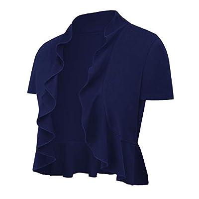 UUANG Women's Summer Short Sleeve Bolero Sheer Knit Shrug Cardigan (Navy Blue,M) by UUANG