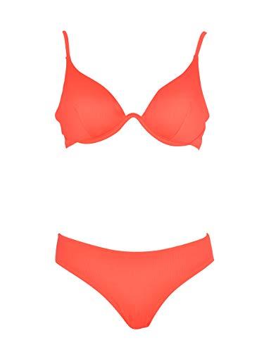 Marine - Bikini con Sujetador Halter de aro Continuo y Braga clásica, Textura Acanalada. (Rojo, 44)