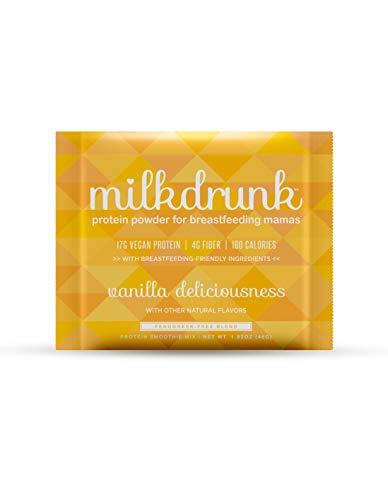 Milk Drunk 6-Pack Dairy Free Vanilla Protein Powder for Breastfeeding - Vegan Protein & Lactation-Boosting Ingredients - Oats, Flax, Brewer's Yeast - Gluten Free, Fenugreek Free