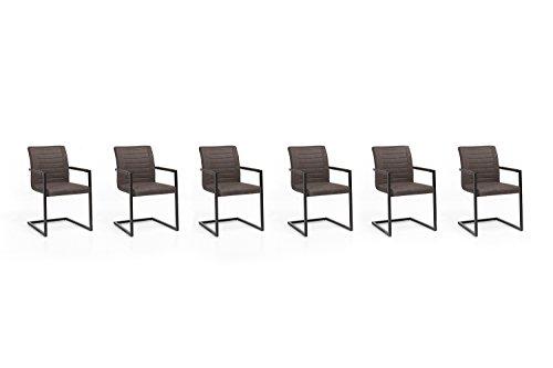Woodkings® 6X Schwingstuhl Picton Freischwinger mit Armlehne Kunstleder braun, Esszimmerstuhl mit Armlehne modern, Designstuhl, Metallgestell schwarz, Küchenstuhl günstig