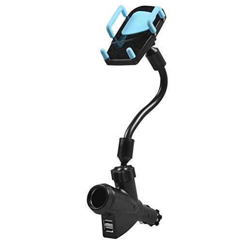Fxhan Car Universal Phone Holder Stand with Dual USB Car Charger Cigarette Lighter Power Adapter