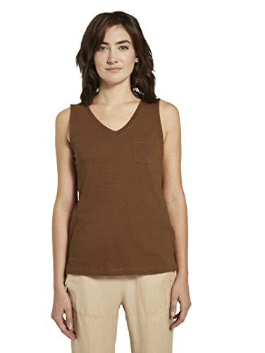 TOM TAILOR Damen T-Shirts/Tops Top mit Brusttasche und Seitenschlitzen Bright Camel Brown,M