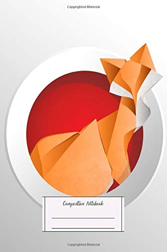 Composition Notebook: Oriental Origami Fox Circle Lined, Soft Cover, Letter Size