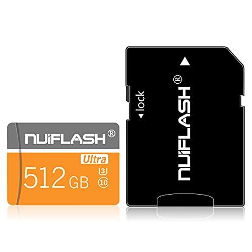 Tarjeta de memoria SD de 512 GB (clase 10 de alta velocidad), tarjeta de memoria Micro SD/TF con adaptador para teléfono, Dash Came, vigilancia, cámara, tacógrafo, tableta, ordenadores, dron