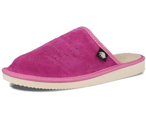 FOOTHUGS Damen Hausschuhe – Natürliches Wildleder Pantoffeln, Einlagesohle aus Memory Schaumstoff und Fußbett für besonderen Komfort & gesunde Körperhaltung (40EU, Rosa)