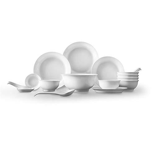 JIAWEI Haushalt Geschirr-Set, Schüssel Teller Geschirr Chinesische Kombination Besteck, Kloß Dish, Sauce Teller, Löffel * 7-Pure White
