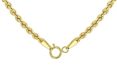 14 Karat / 585 Gold Kordelkette Gelbgold Unisex - 2 mm. Breit - Länge wählbar (55)