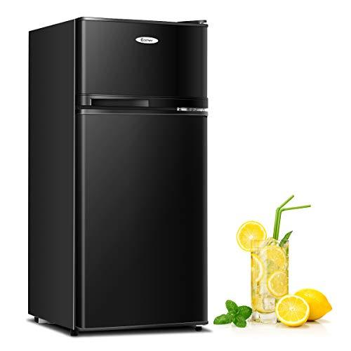 Moccha 3.4cu ft. Compact Refrigerator, Fridge Freezer w/Reversible Doors, Automatic LED Light, 7 Levels Thermostat, Removable Glass Shelves, Ideal Food, Drink Storage Refrigerator (Black)